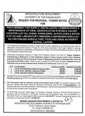 Procurement for Supply, Installation, Commissioning & Maintenance of Viral Identification System & Colony Counter (Lot-22), Ovens, Sterilizers, Autoclaves & Baths ( for PAFDA, Lahore