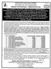 Procurement for Supply, Installation, Commissioning & Maintenance of Particle Counter System (Lot-25), Extensograph & Mixograph (Lot-26), Packaging and Bubbler System (Lot-27), Titrators (Lot-28), Sample Preperationn System (Lot-29 for PAFDA, Lahore