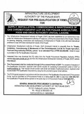 Procurement for Supply, Installation, Commissioning & Maintenance of Gas Chromatography (Lot-34) for PAFDA, Lahore