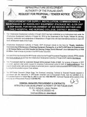 Procurement for Supply, Installation, Commissioning & Maintenance of Radiology Equipment (Package No.4) on DAP & DDP Basis for Establishment of 200 Bedded Mother & Child Hospital & Nursing College, Mianwali