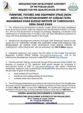 Furniture, Fixtures & Equipment (FF&E) (Non-Medical) for Establishment of Sardar Fateh Muhammad Khan Buzdar Institute of Cardiology, DG Khan