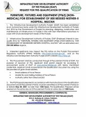 Furniture, Fixtures & Equipment (FF&E) (Non-Medical) for Establishment of 500 Bedded Nishter-II Hospital, Multan