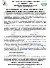 Request for PQ of General Contractor for Establishment of 200 Bedded Mother & Child Hospital and Nursing College, Attock
