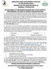 Request for PQ of General Contractor for Establishment of 200 Bedded Mother & Child Hospital & Nursing College at Bahawalnagar