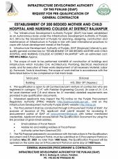 Request for PQ of General Contractor for Establishment of 200 Bedded Mother & Child Hospital & Nursing College at Rajanpur