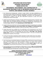 Engineering, Procurement and Construction of Wastewater Treatment Plant at 200 Bedded Mother and Child Hospital and Nursing College, Mianwali
