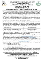 Request for Pre-Qualification of General Contractor for Secretariat Office Building & Allied Works in Multan