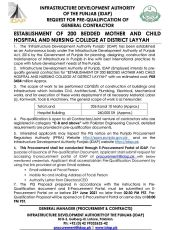 Request for Pre-Qualification of General Contractor for Establishment of 200 Bedded Mother & Child Hospital & Nursing College at District Layyah