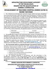 Request for Pre-Qualification of General Contractor for Establishment of Teaching Hospital (Sheikh Zayed II) Rahim Yar Khan