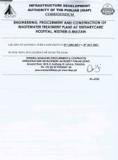 Engineering, Procurement and Construction of Wastewater Treatment Plant at Tertiary Care Hospital, Nishter-II Multan