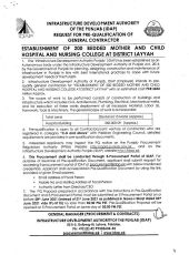 Request for Pre-Qualification of General Contractor for Establishment of 200 Bedded Mother and Child Hospital and Nursing College at District Layyah