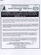 Procurement, Supply, Installation, Commissioning & Maintenance of CSSD Equipment (Package No. 2) on DAP & DDP Basis for Establishment of Tertiary Care Hospital, Nishter-II, Multan