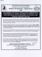 Procurement, Supply, Installation, Commissioning & Maintenance of Laundry Equipment (Package No 3) on DAP & DDP Basis for Establishment of Tertiary Care Hospital, Nishter-II, Multan