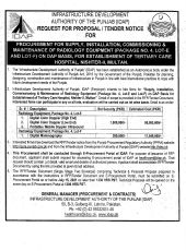 Procurement, Supply, Installation, Commissioning & Maintenance of Radiology Equipment Lot E & F Nisther-II Multan
