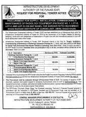 Procurement, Supply, Installation, Commissioning & Maintenance of Radiology Equipment Lot - B, C & D DG Khan