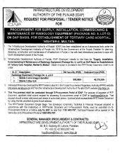 Procurement, Supply, Installation, Commissioning & Maintenance of Radiology Equipment Lot - D Nisther-II Multan