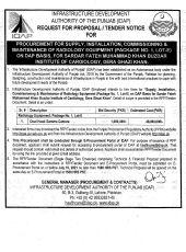 Procurement, Supply, Installation, Commissioning & Maintenance of Radiology Equipment Lot - E DG Khan