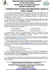 Construction of Suites for Honourable Judges at GOR-1, Lahore
