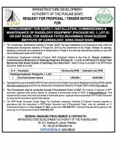 Procurement for Supply, Installation, Commissioning & Maintenance of Radiology Equipment (Package No.1, Lot-E) on DAP Basis, for Sardar Fateh Muhammad Khan Buzdar Institute of Cardiology, Dera Ghazi Khan