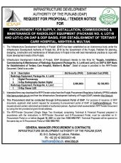 Procurement for Supply, Installation, Commissioning & Maintenance of Radiology Equipment (Package No.4, Lot-B and Lot-C) on DAP Basis, for Establishment of Tertiary Care Hospital, Nishter-II, Multan