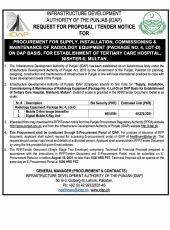 Procurement for Supply, Installation, Commissioning & Maintenance of Radiology Equipment (Package No.4, Lot-D) on DAP Basis, for Establishment of Tertiary Care Hospital, Nishter-II, Multan