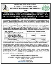 Procurement for Supply, Installation, Commissioning & Maintenance of Radiology Equipment (Package No.4, Lot-E, Lot-C and Lot-F) on DAP Basis, for Establishment of Tertiary Care Hospital, Nishter-II, Multan