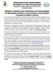 Resident Construction Supervision of Establishment of 200 Bedded Mother & Child Hospital & Nursing College at District Attock