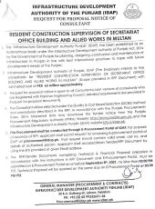 Resident Construction Supervision of Secretariat Office Building and Allied Works in Multan