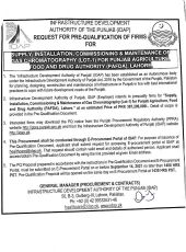 Supply, Installation, Commissioning & Maintenance of Gas Chromatography (Lot-1) for Punjab Agriculture Food & Drug Authority (PAFDA), Lahore