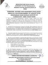 Furniture, Fixtures & Equipment (FF&E) (Non-Medical) for Establishment of Sardar Fateh Muhammad Khan Buzdar Institute of Cardiology, Dera Ghazi Khan