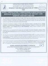 Supply, Installation, Commissioning & Maintenance of Modular Operation Theatres for Tertiary Care Hospital Nishtar-II, Multan