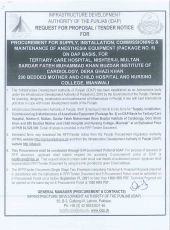 Procurement for Supply, Installation, Commissioning & Maintenance of Anesthesia Equipment (Package No. 5) on DAP Basis for Tertiary Care Hospital Nishtar - II, Multan, Sardar Fateh Muhammad Khan Buzdar Institute of Cardiology, DG Khan and 200 Bedded Mothe