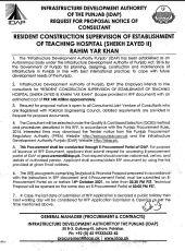 Resident Construction Supervision of Establishment of Teaching Hospital (Sheikh Zayed II) Rahim Yar Khan