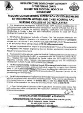Resident Consultant Supervision of Establishment of 200 Bedded Mother & Child Hospital & Nursing College at District Layyah