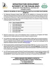 Design of Revamping of Non-Teaching DHQ Hospitals in Khyber Pakhtunkhwa (Phase - 3A)