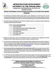 Design of Revamping of Non-Teaching DHQ Hospitals in Khyber Pakhtunkhwa (Phase - 3B)