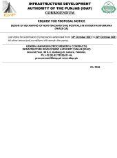 Corrigendum RFP Design of Revamping of Non-Teaching Hospitals in KPK (Phase 3A)