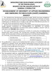 Request for PQ of General Contractor Establishment of University of Applied Engineering & Emerging Technologies (UAEET) Sambrial, Sialkot